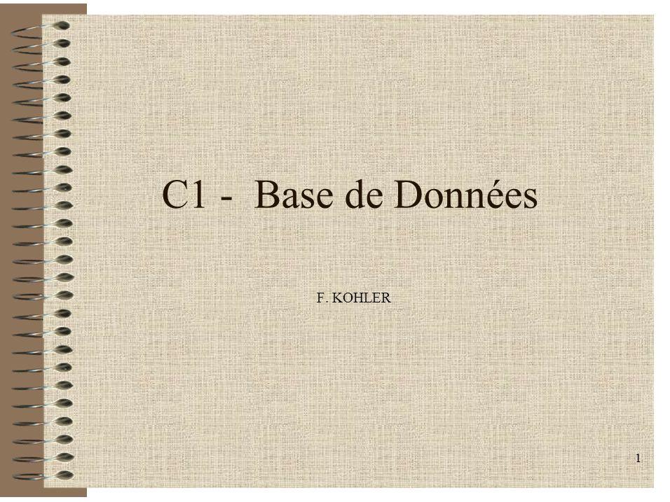 C1 - Base de Données F. KOHLER