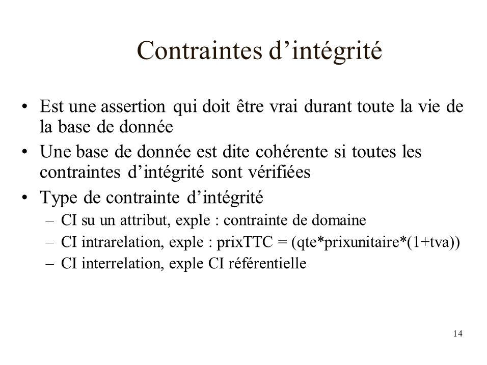 Contraintes d'intégrité