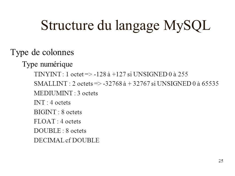 Structure du langage MySQL