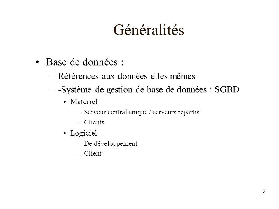 Généralités Base de données : Références aux données elles mêmes