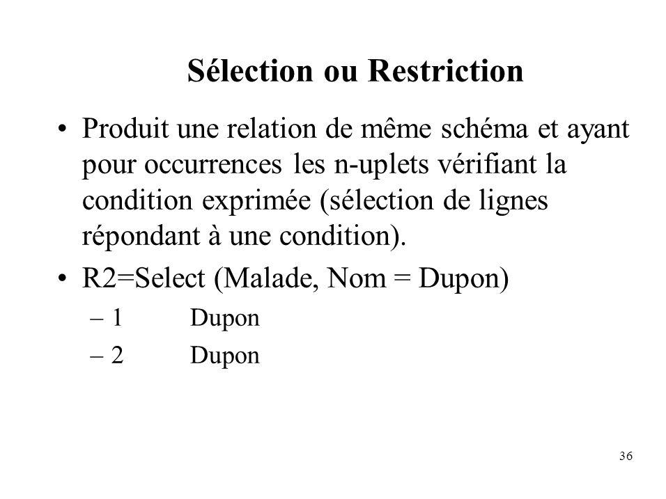 Sélection ou Restriction