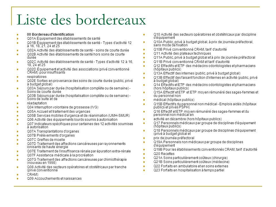 Liste des bordereaux 00 Bordereau d identification