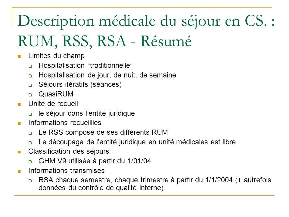 Description médicale du séjour en CS. : RUM, RSS, RSA - Résumé