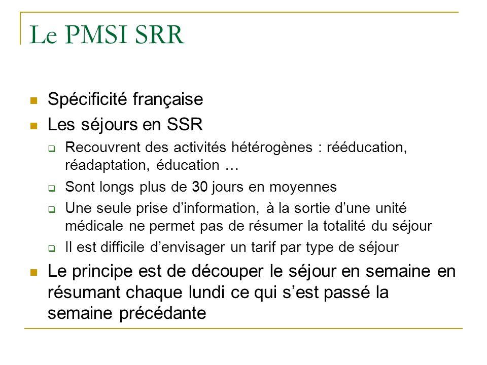 Le PMSI SRR Spécificité française Les séjours en SSR