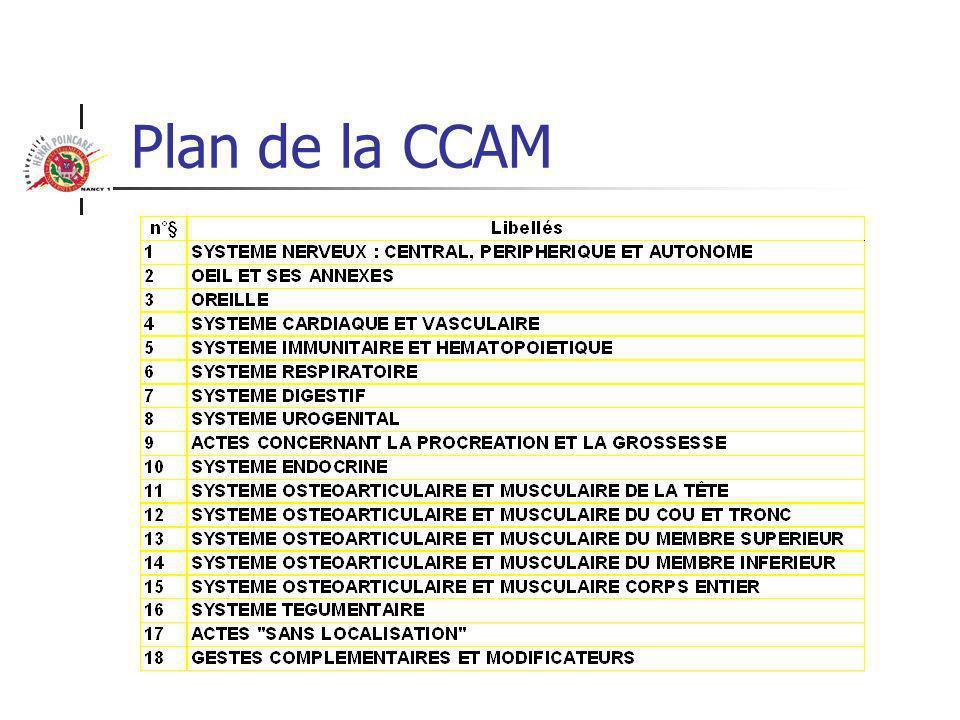 Plan de la CCAM