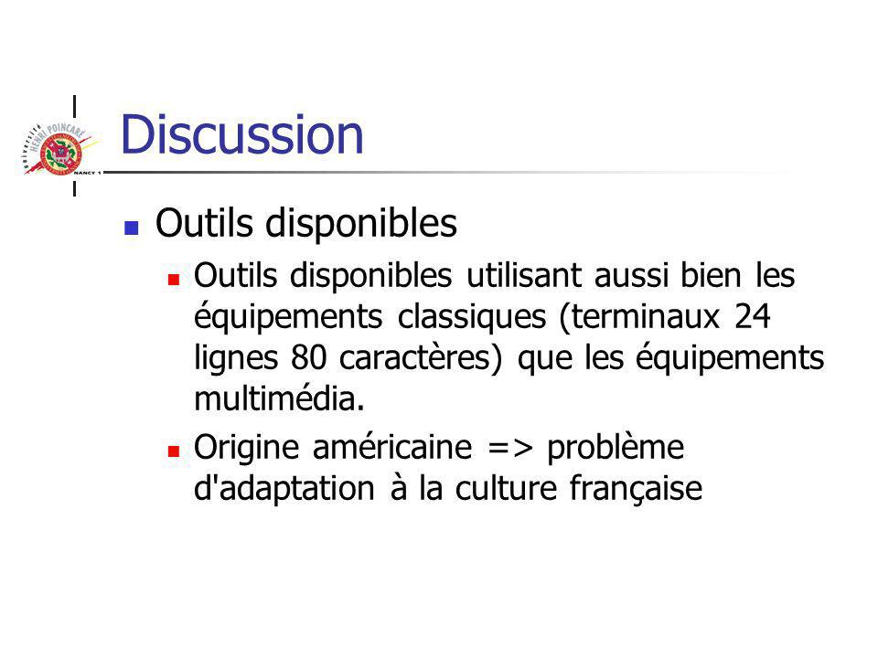 Discussion Outils disponibles