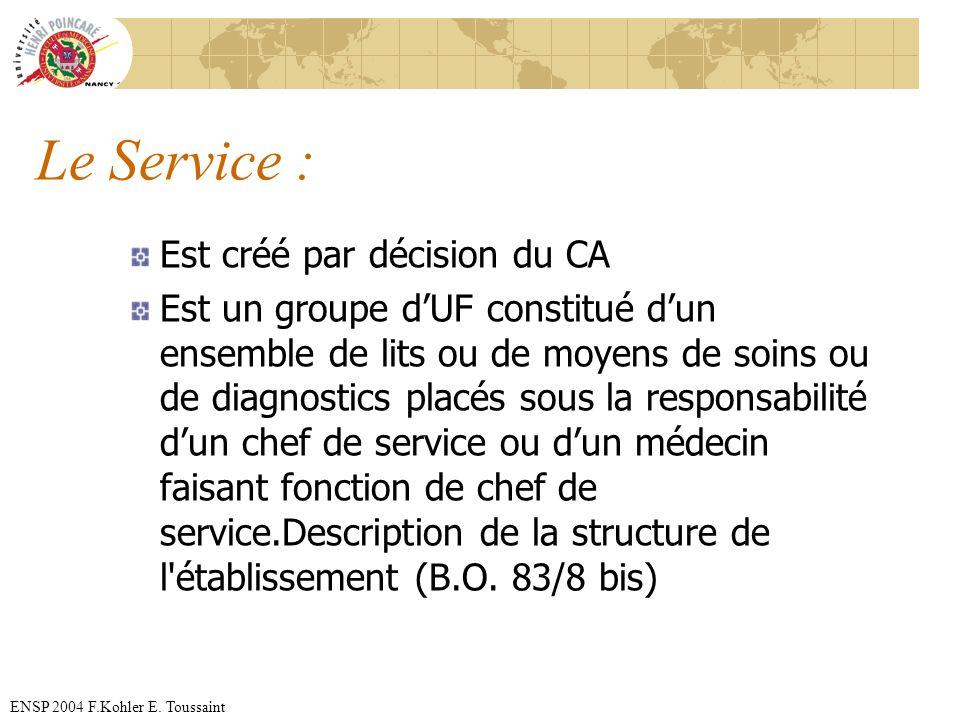 Le Service : Est créé par décision du CA