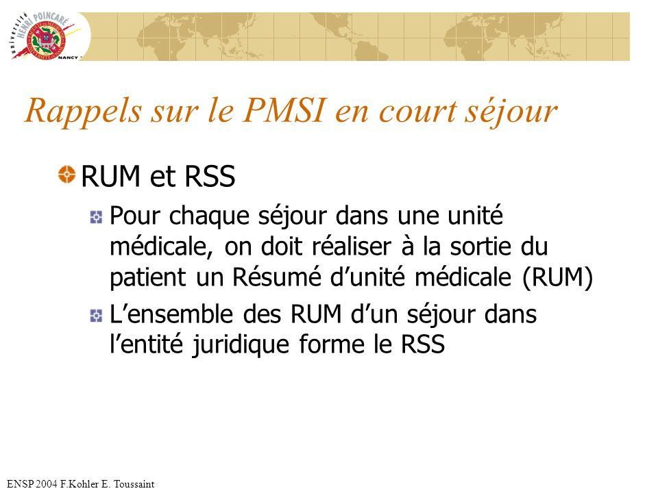 Rappels sur le PMSI en court séjour