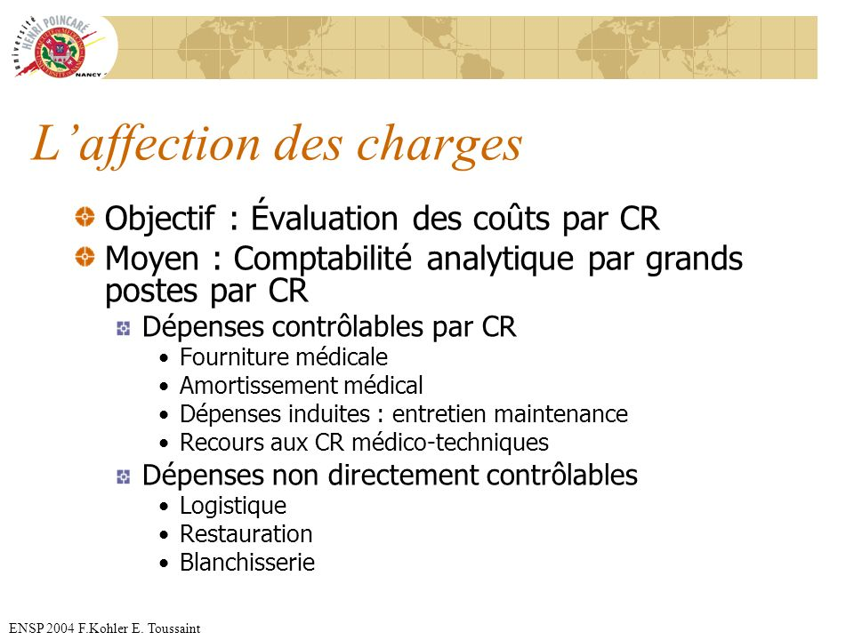 L'affection des charges