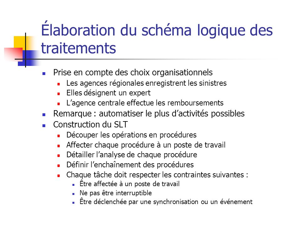 Élaboration du schéma logique des traitements