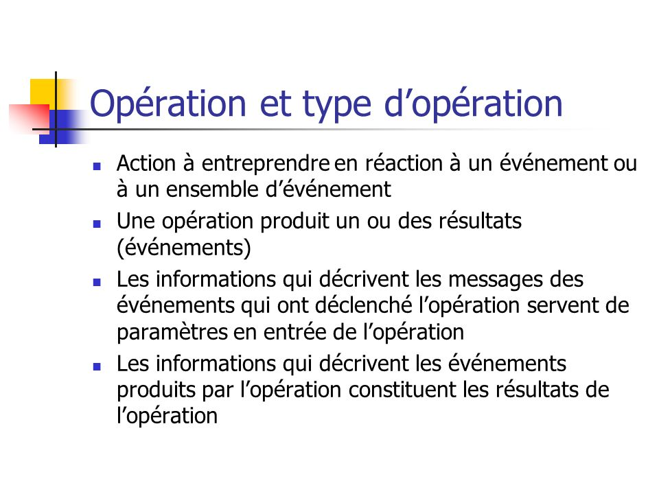 Opération et type d'opération