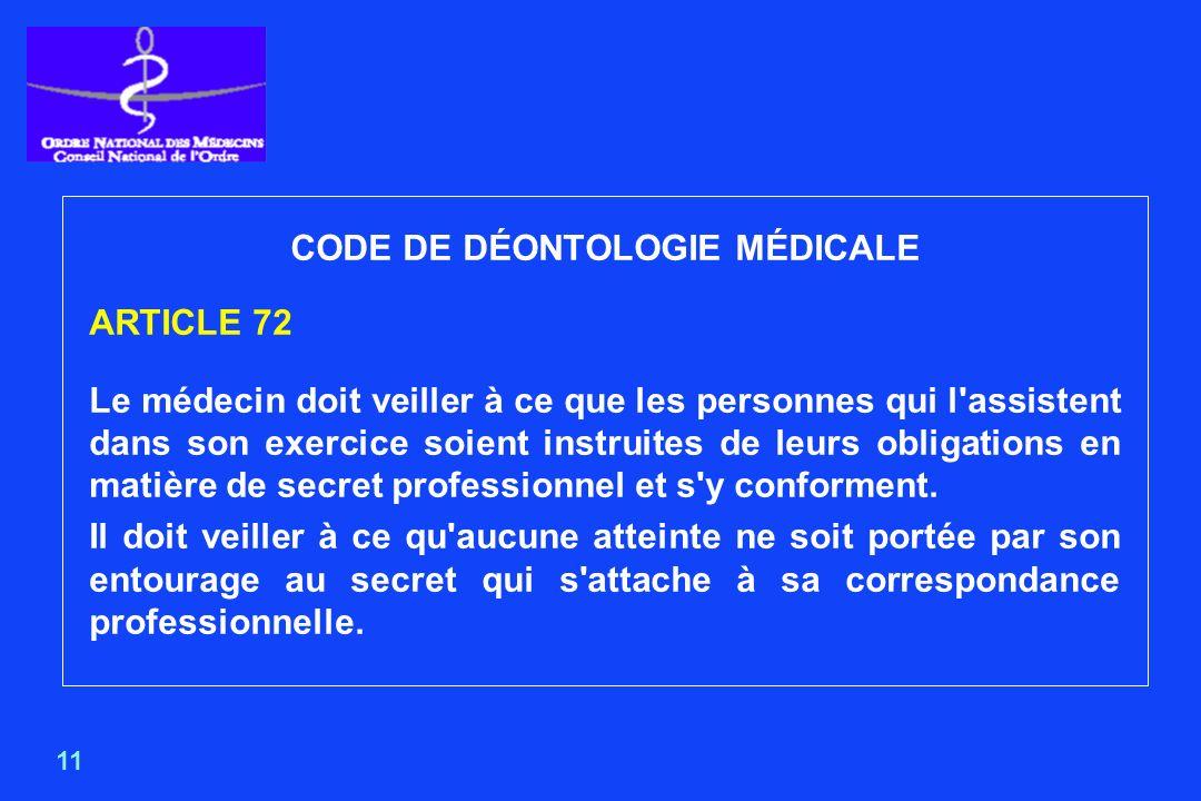CODE DE DÉONTOLOGIE MÉDICALE