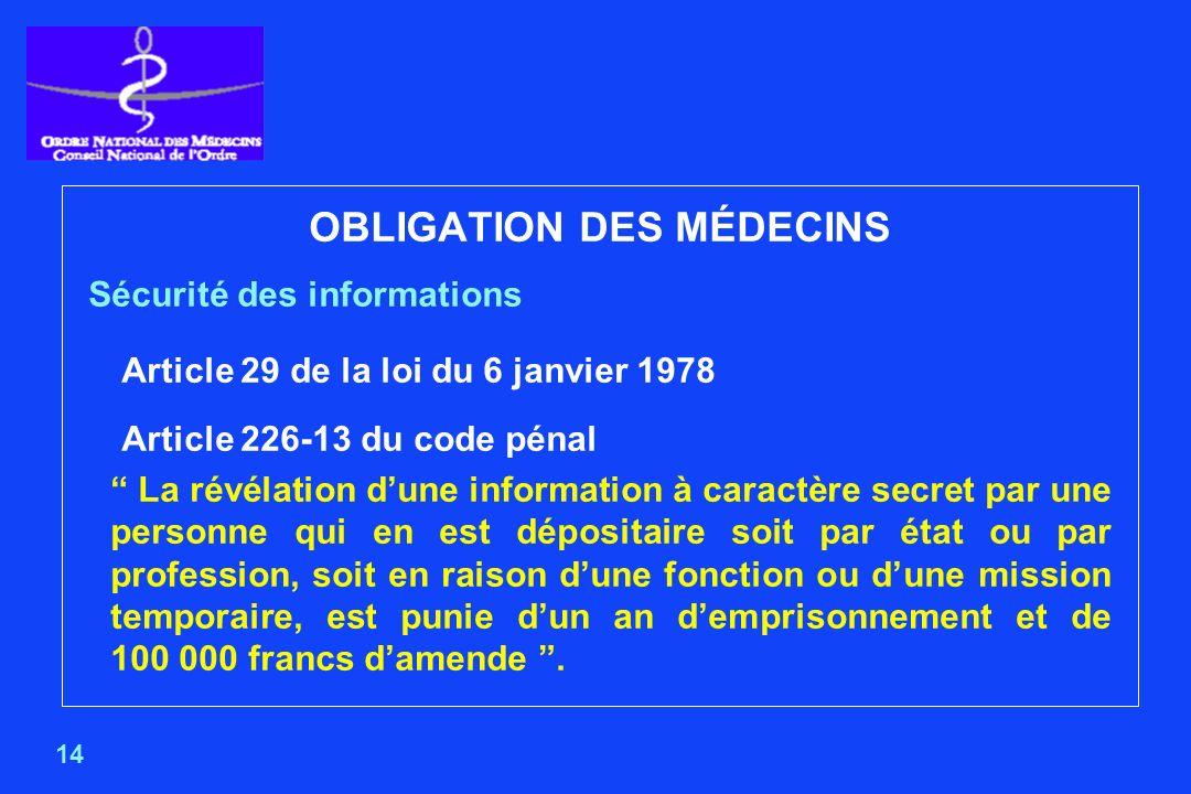 OBLIGATION DES MÉDECINS