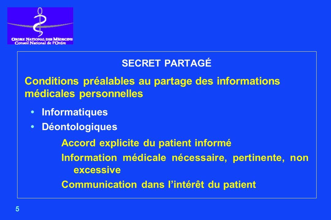 SECRET PARTAGÉ Conditions préalables au partage des informations médicales personnelles. • Informatiques.