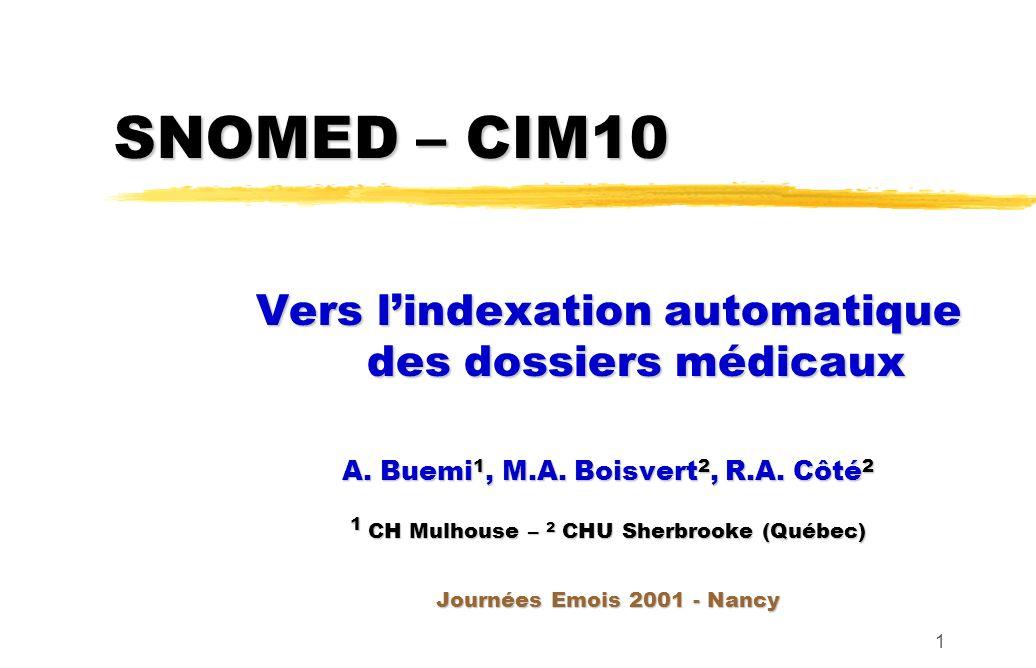 SNOMED – CIM10 Vers l'indexation automatique des dossiers médicaux
