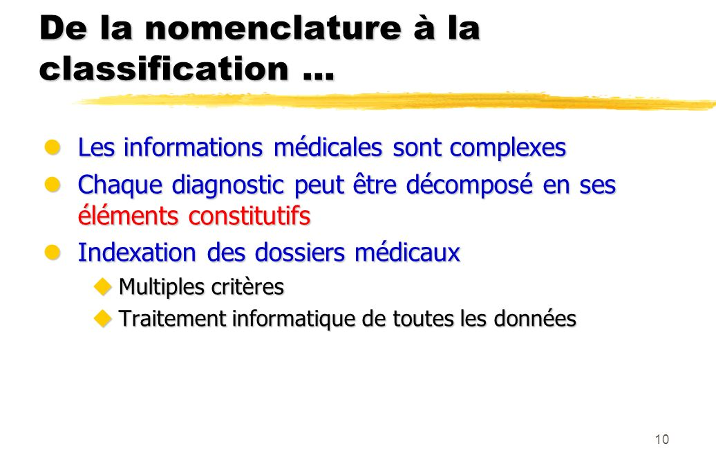 De la nomenclature à la classification ...