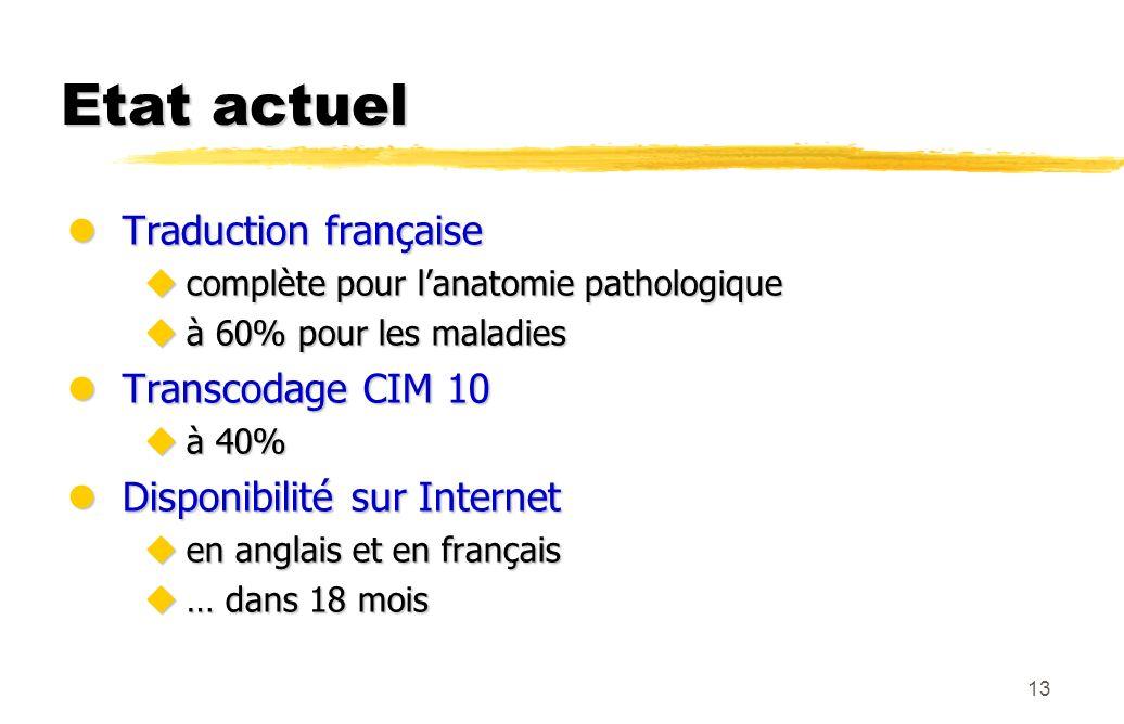 Etat actuel Traduction française Transcodage CIM 10