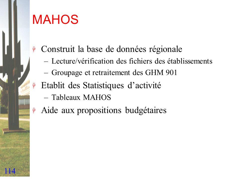 MAHOS Construit la base de données régionale
