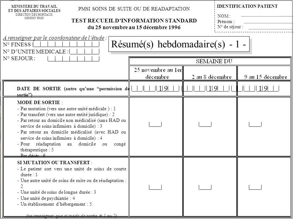 Résumé(s) hebdomadaire(s) - 1 -