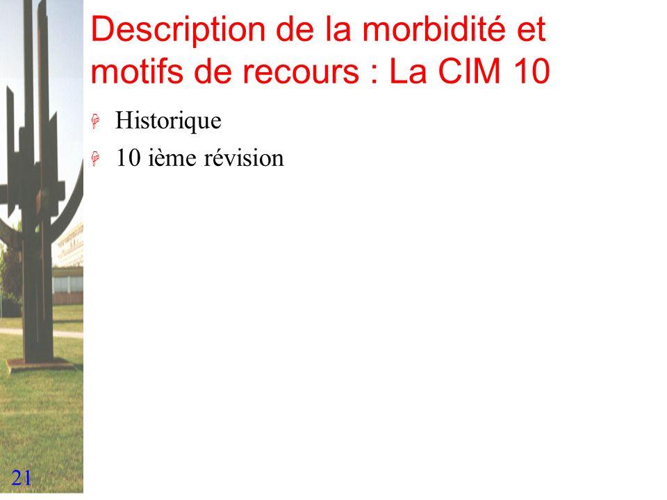 Description de la morbidité et motifs de recours : La CIM 10