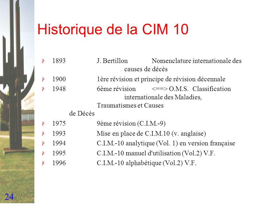 Historique de la CIM 10 1893 J. Bertillon Nomenclature internationale des causes de décès.