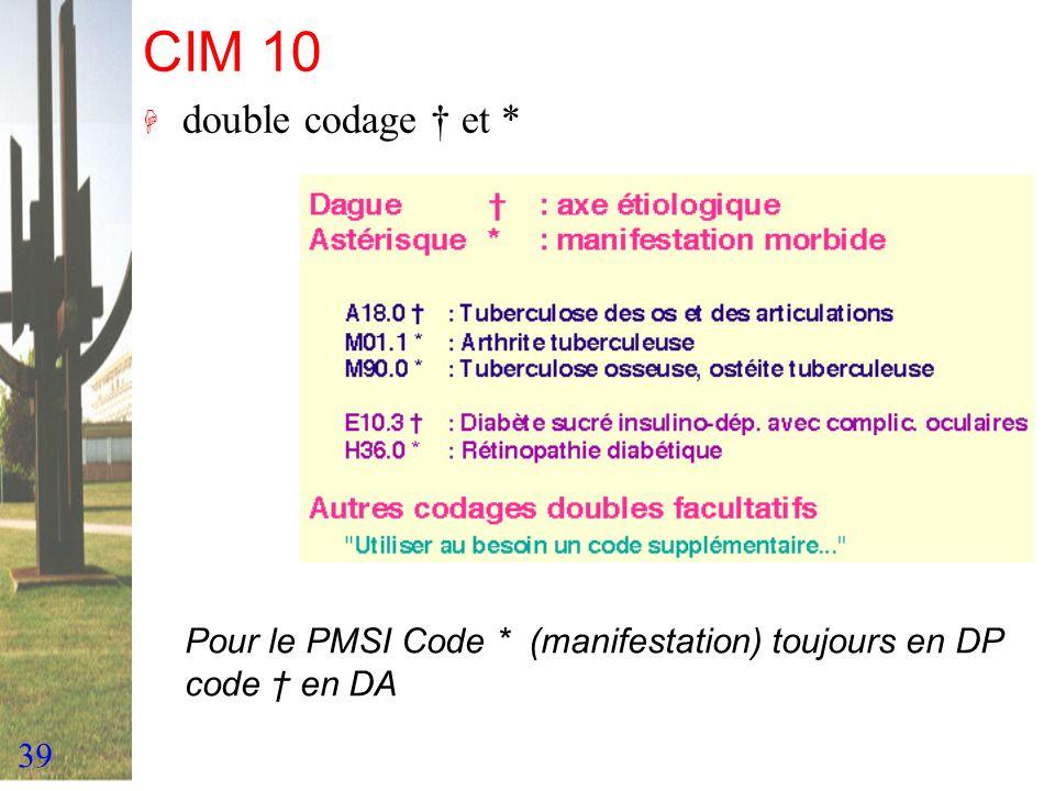 CIM 10 double codage † et * Pour le PMSI Code * (manifestation) toujours en DP code † en DA