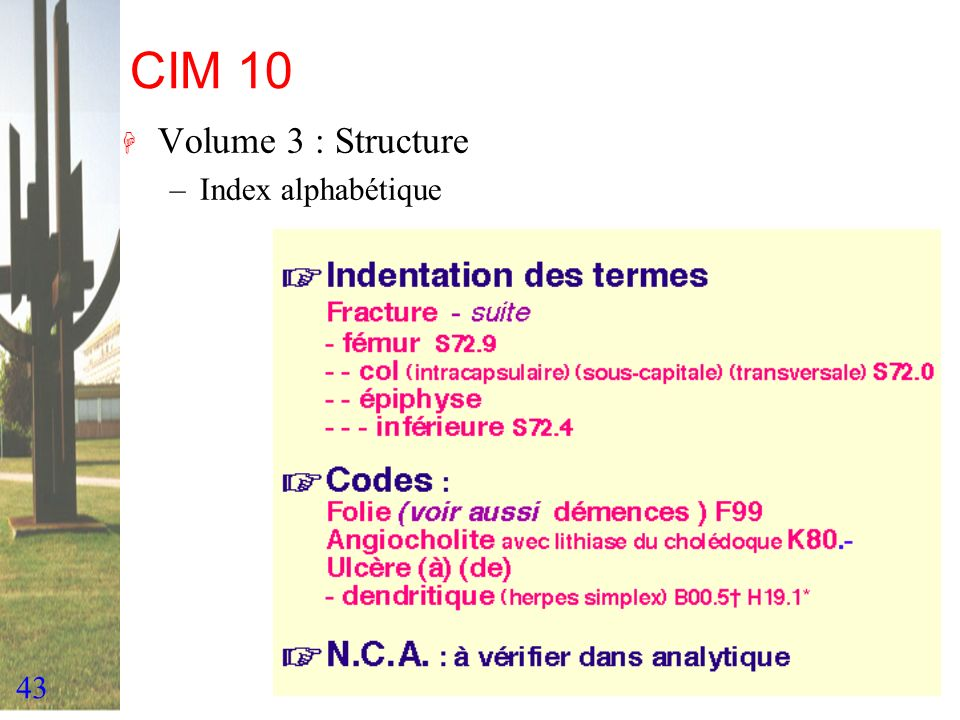CIM 10 Volume 3 : Structure Index alphabétique