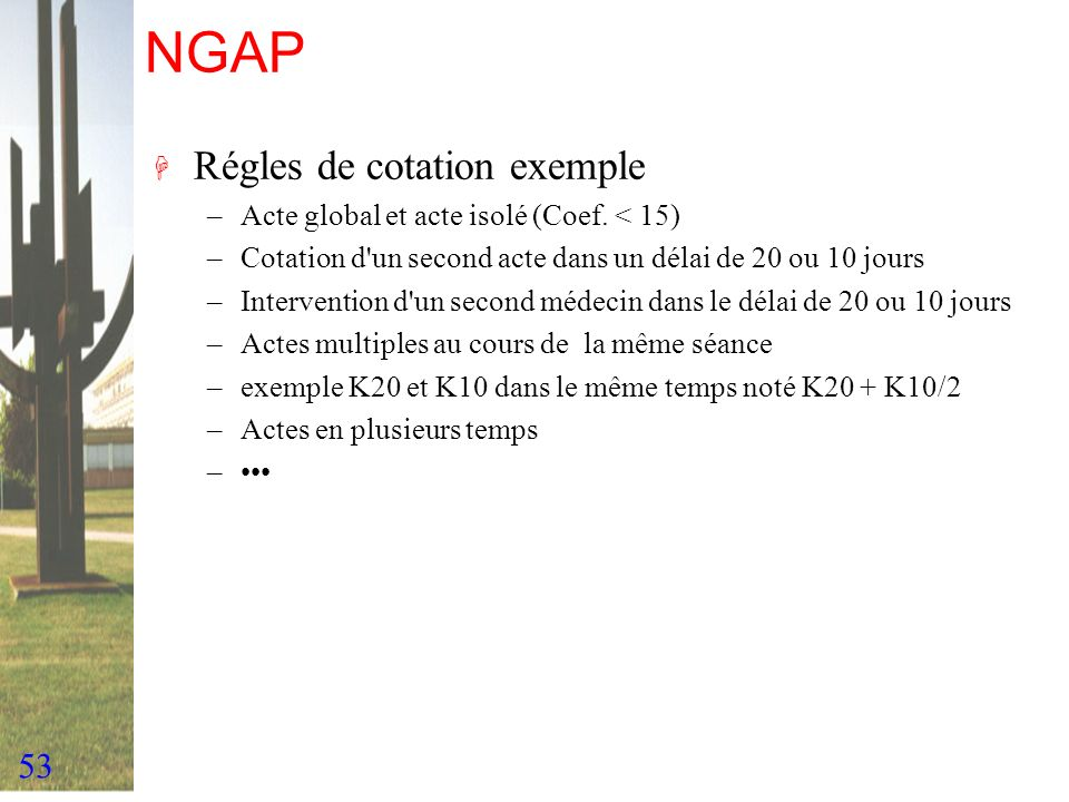 NGAP Régles de cotation exemple