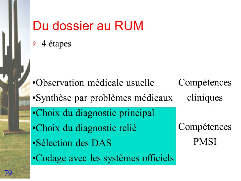 Du dossier au RUM Observation médicale usuelle Compétences