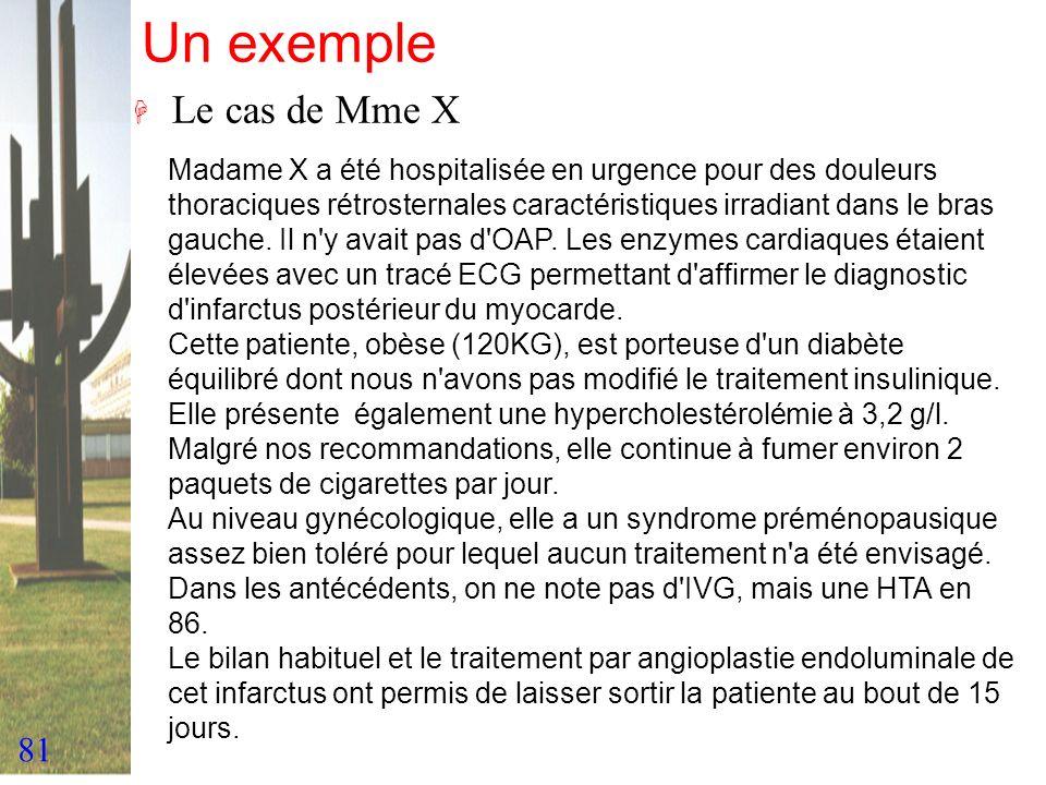 Un exemple Le cas de Mme X