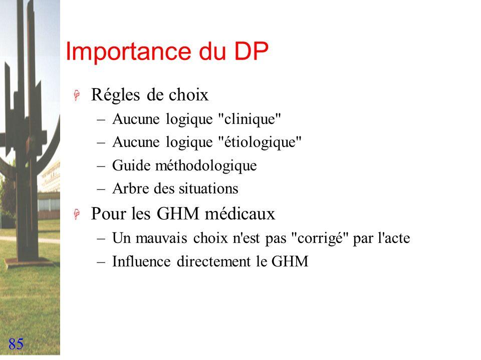 Importance du DP Régles de choix Pour les GHM médicaux