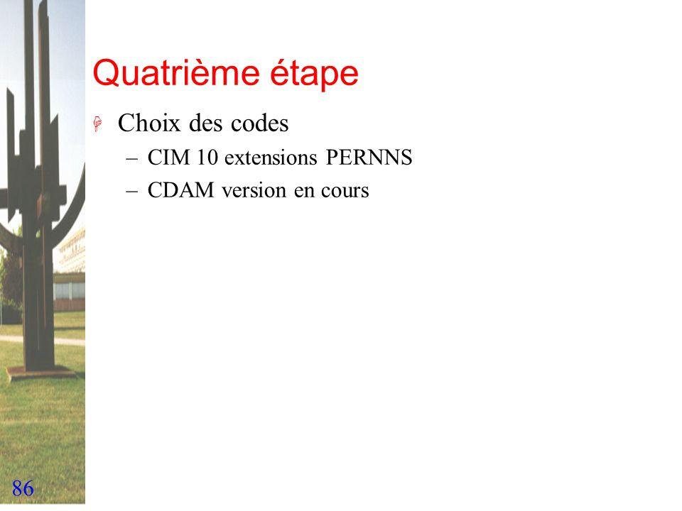 Quatrième étape Choix des codes CIM 10 extensions PERNNS