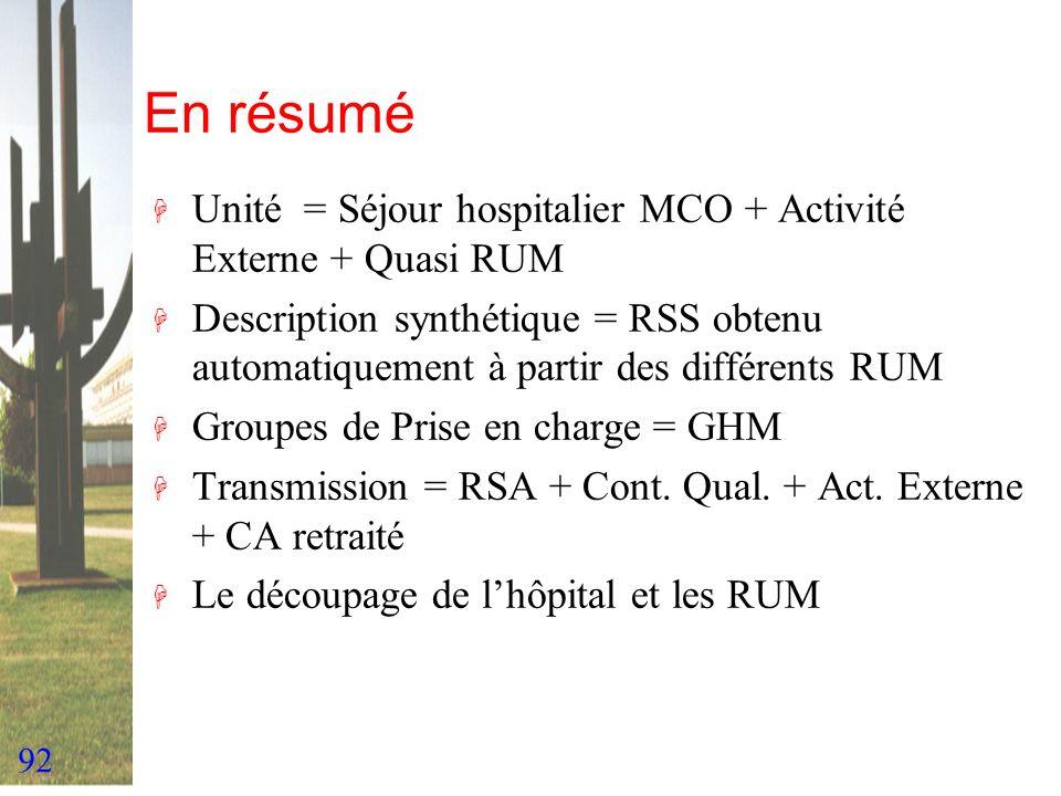 En résumé Unité = Séjour hospitalier MCO + Activité Externe + Quasi RUM.