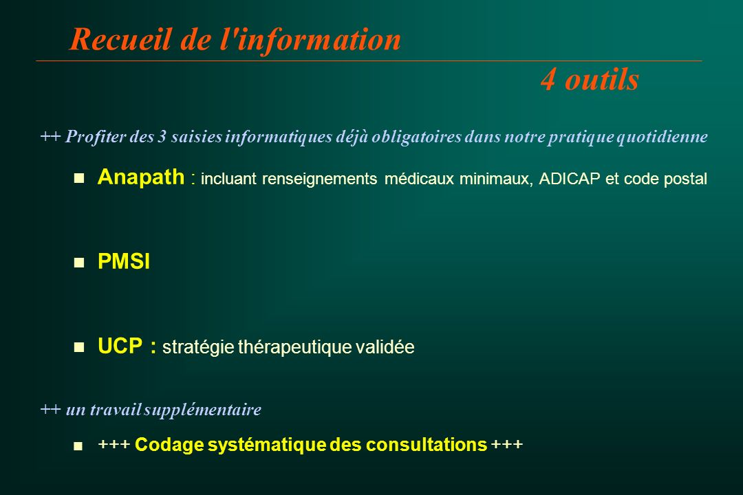 Recueil de l information 4 outils