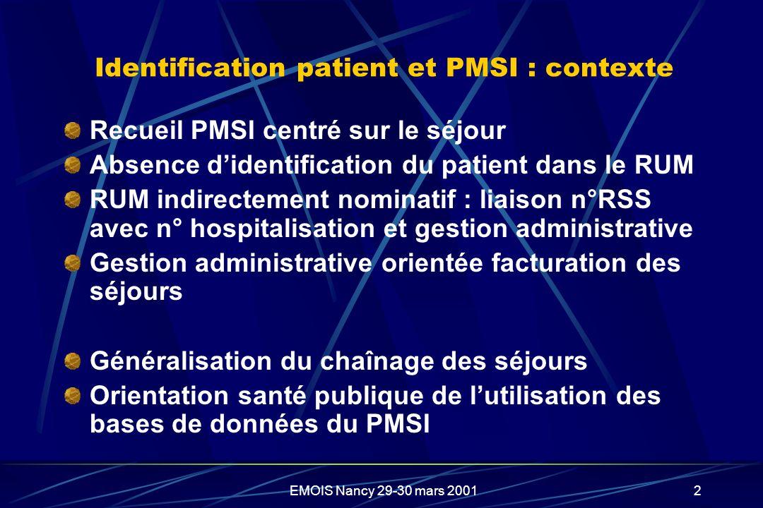Identification patient et PMSI : contexte