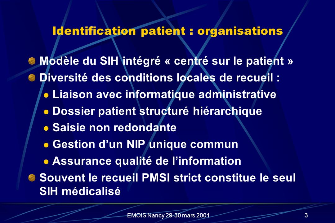 Identification patient : organisations