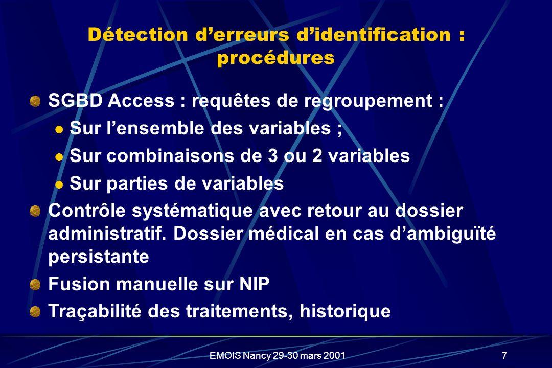 Détection d'erreurs d'identification : procédures