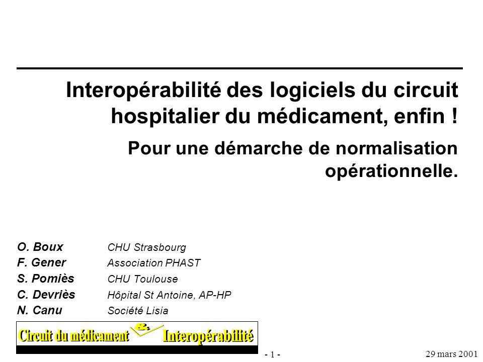 Interopérabilité des logiciels du circuit hospitalier du médicament, enfin ! Pour une démarche de normalisation opérationnelle.