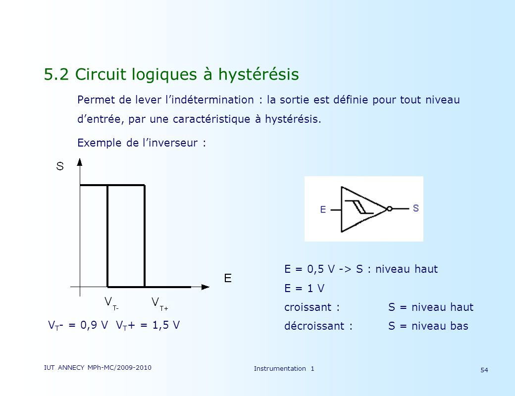 2009 2010 electronique d instrumentation r partition for Cours de circuit logique