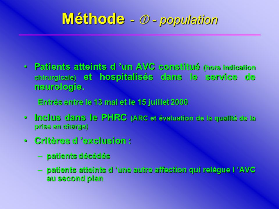 Méthode -  - population