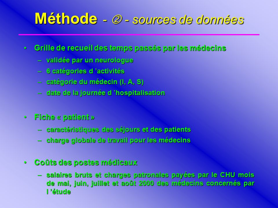 Méthode -  - sources de données