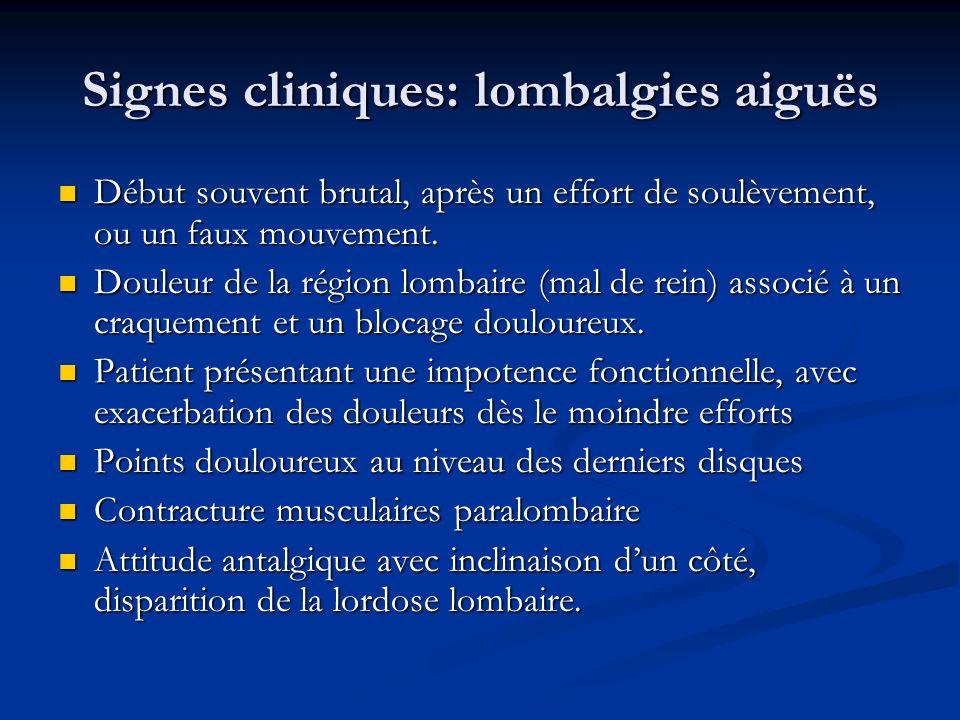 Signes cliniques: lombalgies aiguës