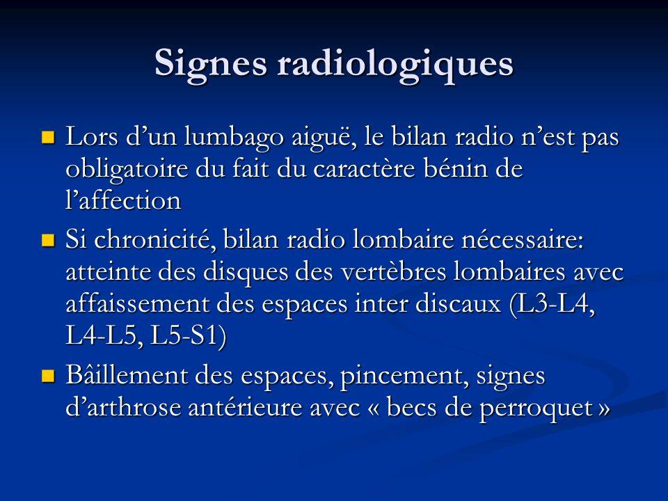 Signes radiologiques Lors d'un lumbago aiguë, le bilan radio n'est pas obligatoire du fait du caractère bénin de l'affection.