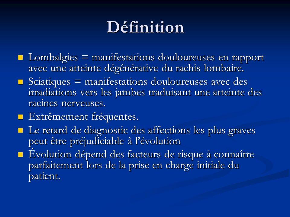 Définition Lombalgies = manifestations douloureuses en rapport avec une atteinte dégénérative du rachis lombaire.
