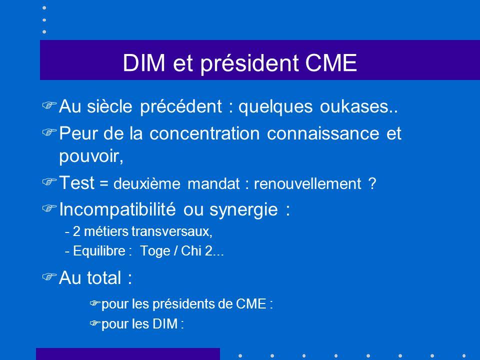 DIM et président CME Au siècle précédent : quelques oukases..
