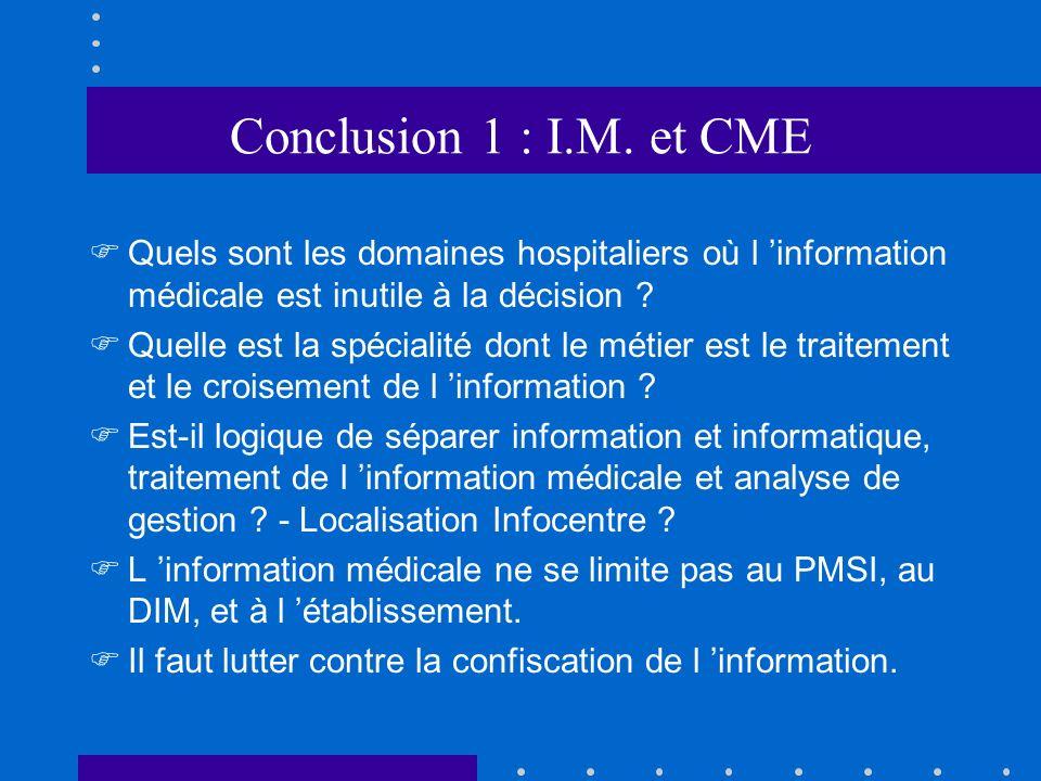 Conclusion 1 : I.M. et CME Quels sont les domaines hospitaliers où l 'information médicale est inutile à la décision