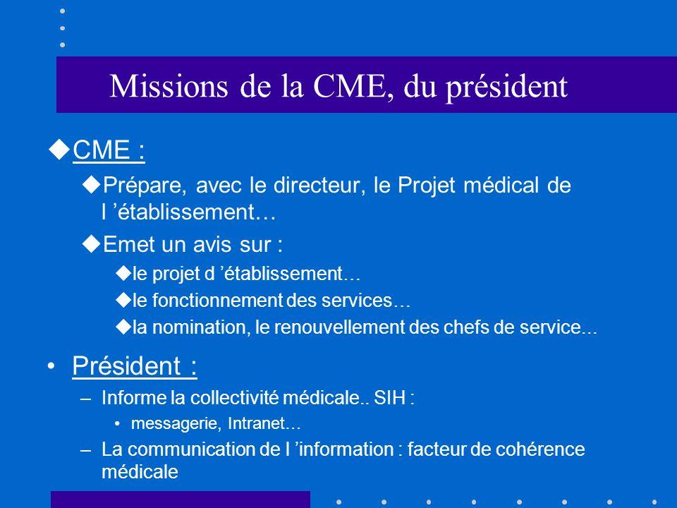 Missions de la CME, du président