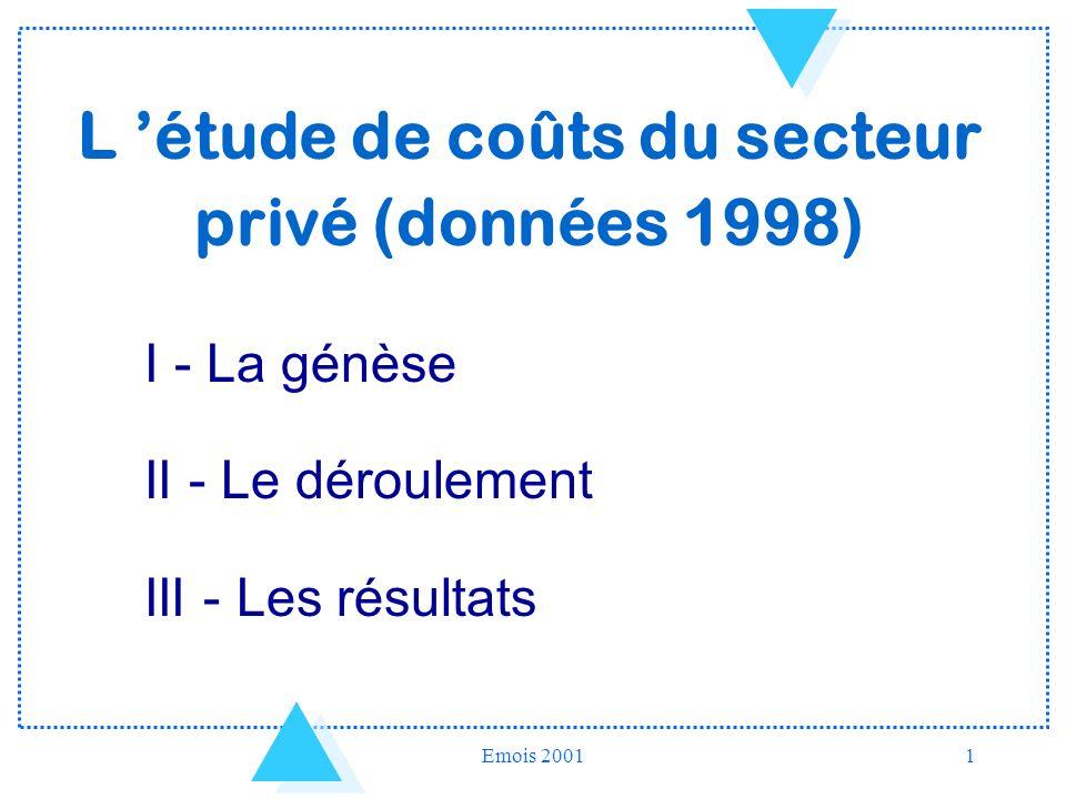 L 'étude de coûts du secteur privé (données 1998)