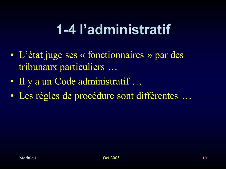 1-4 l'administratif L'état juge ses « fonctionnaires » par des tribunaux particuliers … Il y a un Code administratif …