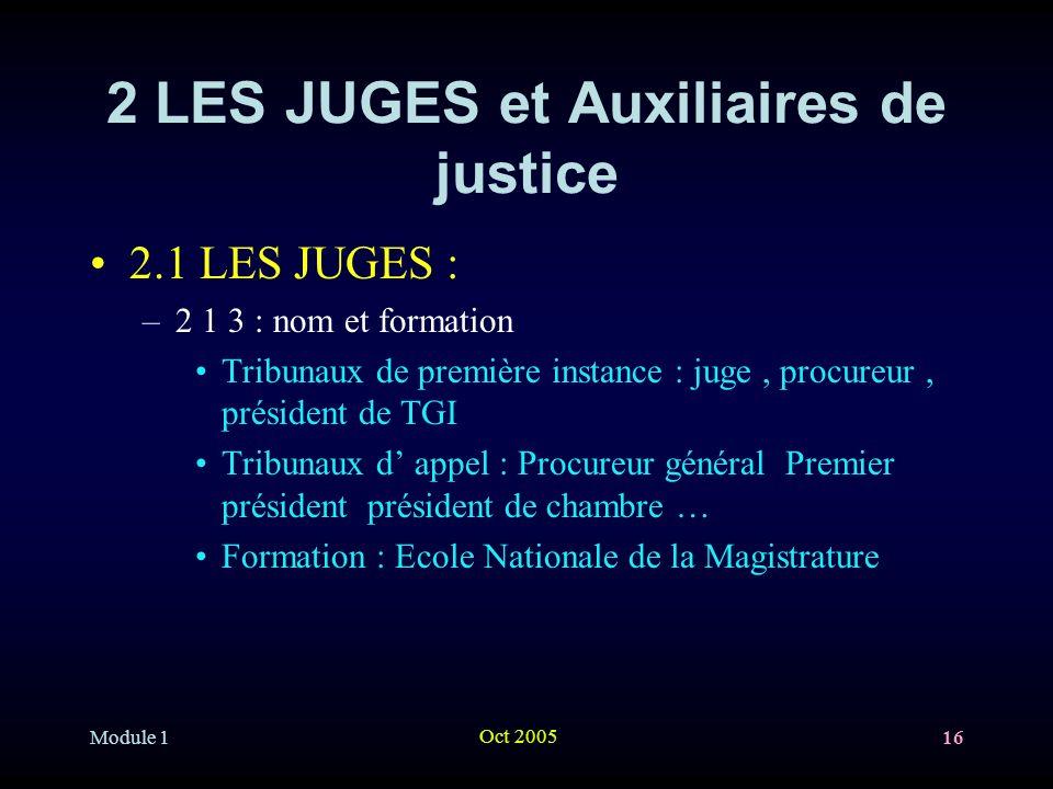2 LES JUGES et Auxiliaires de justice